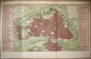 ইবনেজার হাওয়ার্ডের গার্ডেন সিটি ধারনার ওপর ভিত্তি করে গড়ে উঠা শহর লিমা (১৭৫০) (সূত্রঃ http://en.wikipedia.org/wiki/File:Lima1750.jpg)